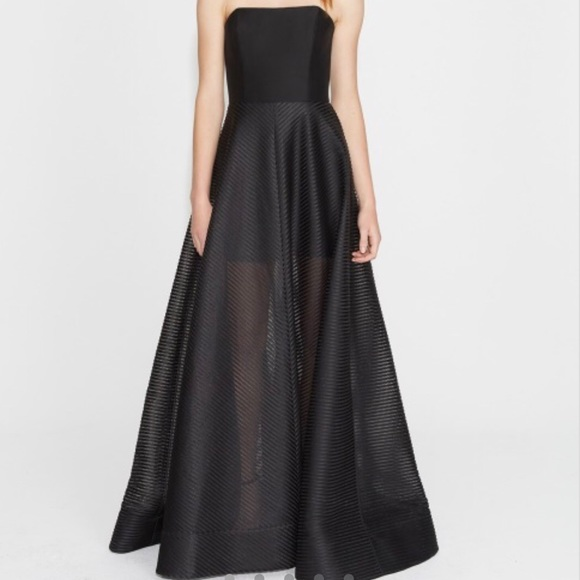 340de9a7f580 Halston Heritage Dresses | Strapless Stripe Mesh Gown | Poshmark